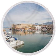 Old Harbour Of  Kyrenia, In Cyprus Round Beach Towel
