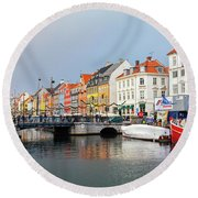 Old Harbour Of Nyhavn  Round Beach Towel