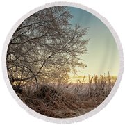 Old Harvester By The Birch Tree Round Beach Towel
