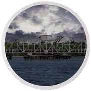 Old Highway 41 Swing Bridge Over The Wando River In Charleston Sc Round Beach Towel