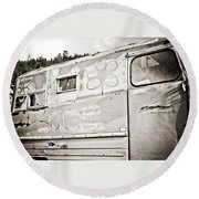 Old Hippie Peace Van Round Beach Towel