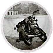 Old Honda In Hanoi Round Beach Towel