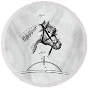 Old Horse Blinker Patent Round Beach Towel