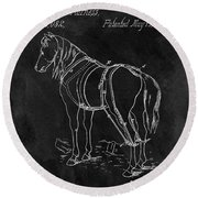 Old Horse Harness Patent  Round Beach Towel