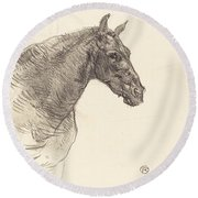 Old Horse (le Vieux Cheval) Round Beach Towel