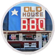 Old House Bbq Round Beach Towel