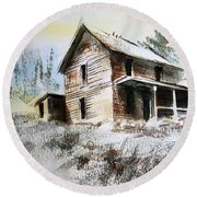 Old House Marysville Ghosttown Montana Round Beach Towel