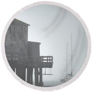 Old House On The Pier Round Beach Towel