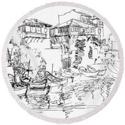 Old Houses And Boats Round Beach Towel