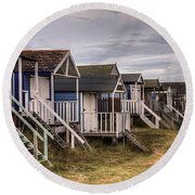 Beach Huts At Old Hunstanton Round Beach Towel