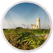 Old Hunstanton Lighthouse North Norfolk Uk Round Beach Towel