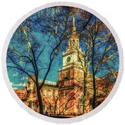 Old Independence Hall Round Beach Towel