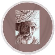 Old Indian Man Round Beach Towel