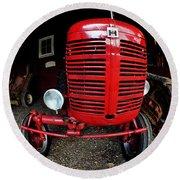 Old International Harvester Tractor Round Beach Towel