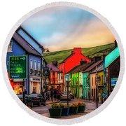 Old Irish Town The Dingle Peninsula At Sunset Round Beach Towel