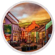 Old Irish Town The Dingle Peninsula Late Sunset Round Beach Towel