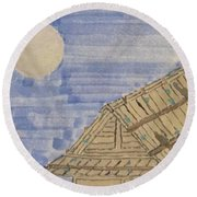 Old Japan At Nightfall Round Beach Towel