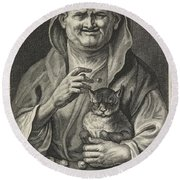 Old Jester With Cat, Alexander Voet II, After Jacob Jordaens I, 1662-1674 Round Beach Towel
