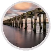 Old Jetty Near Castlerock Round Beach Towel