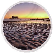 Old Lifesavers Building Covered By Warm Sunset Light Round Beach Towel