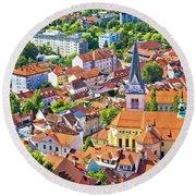 Old Ljubljana Cityscape Aerial View Round Beach Towel