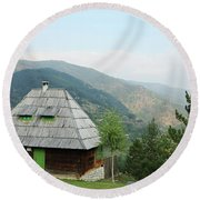 Old Log Cabin On Mountain Landscape Round Beach Towel