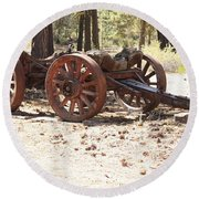Old Logging Wagon Round Beach Towel