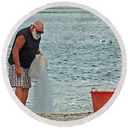 Old Man And The Net Round Beach Towel