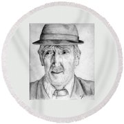 Old Man With Hat Round Beach Towel