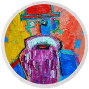 Old Man With Red Bowler Hat Round Beach Towel