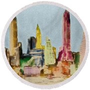 Old Manhattan Round Beach Towel