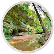 Old Man's Gorge Trail And Caves Hocking Hills Ohio Round Beach Towel