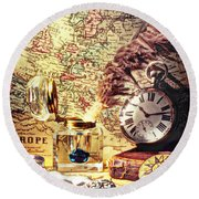 Old Maps And Ink Well Round Beach Towel
