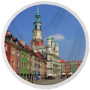 Old Marketplace And The Town Hall Poznan Poland Round Beach Towel