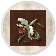 Old Masters Reimagined - Cattleya Orchid Round Beach Towel