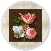 Old Masters Reimagined - Parrot Tulip Round Beach Towel