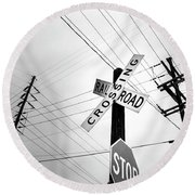 Old Midwest Railroad Warning Crossing Sign And Stop Sign At Dawn Round Beach Towel