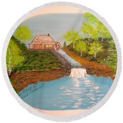 Old Mill And Falls Round Beach Towel