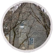 Old Mill Building Round Beach Towel