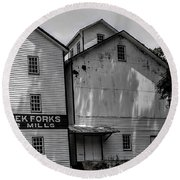 Old Mill Buildings Round Beach Towel