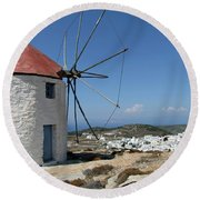 Old Mill In Greece Round Beach Towel