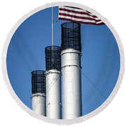 Old Mill Smoke Stacks With Flag Round Beach Towel