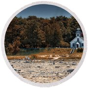 Old Mission Point Light House 01 Round Beach Towel