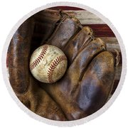 Old Mitt And Baseball Round Beach Towel by Garry Gay
