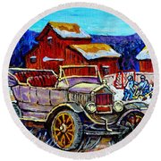 Old Model T Car Red Barns Canadian Winter Landscapes Outdoor Hockey Rink Paintings Carole Spandau Round Beach Towel