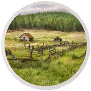 Old Montana Homestead Round Beach Towel by Sharon Foster