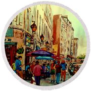 Old Montreal Cafes Round Beach Towel