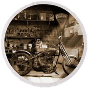 Old Motorcycle Shop Round Beach Towel