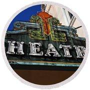 Old Movie Theatre Sign Round Beach Towel