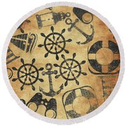 Old Nautical Parchment Round Beach Towel